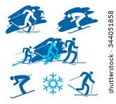skiers icons  blue illustration ... | Shutterstock .eps vector #344051858