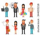 set characters teenage girl... | Shutterstock .eps vector #344055218