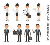 set characters business woman... | Shutterstock .eps vector #344055239