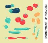 vector set vegetables | Shutterstock .eps vector #344057003
