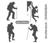 sport silhouettes. hiking ... | Shutterstock .eps vector #344060864