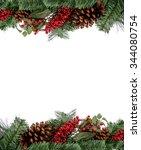 christmas evergreen border for...   Shutterstock . vector #344080754