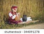 child in ukrainian national... | Shutterstock . vector #344091278