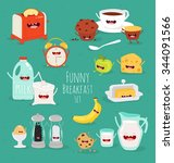 funny breakfast set. comic... | Shutterstock .eps vector #344091566