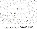 bent staples to fasten papers.... | Shutterstock . vector #344099600