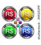 Brazilian Real currency icon on round colorful vector buttons suitable for use on websites, in print materials or in advertisements.  Set includes red, yellow, green, and blue versions. - stock vector