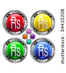 Indian rupee currency icon on round colorful vector buttons suitable for use on websites, in print materials or in advertisements.  Set includes red, yellow, green, and blue versions. - stock vector