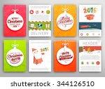 christmas vector vintage cards... | Shutterstock .eps vector #344126510