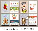 christmas vector vintage cards...   Shutterstock .eps vector #344127620