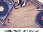 1980's stereo set hero header | Shutterstock . vector #344129060