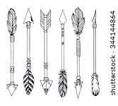 tribal indian arrow set. ethnic ... | Shutterstock .eps vector #344144864