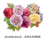 watercolor autumn garden... | Shutterstock . vector #344144888