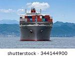 container ship vecchio bridge... | Shutterstock . vector #344144900