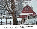 old red barn in a snow storm in ... | Shutterstock . vector #344167370