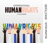 human rights day  poster ... | Shutterstock .eps vector #344173100
