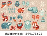 christmas set with santa claus  ... | Shutterstock .eps vector #344178626