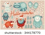 lovely cartoon background with... | Shutterstock .eps vector #344178770