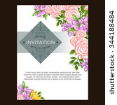 invitation with floral... | Shutterstock .eps vector #344188484
