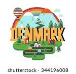 denmark in scandinavia is a... | Shutterstock .eps vector #344196008