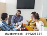 group of happy creative people... | Shutterstock . vector #344205884