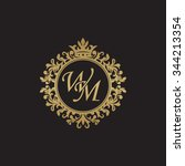 wm initial luxury ornament... | Shutterstock .eps vector #344213354
