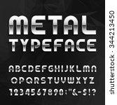 metal alphabet font. type... | Shutterstock .eps vector #344213450