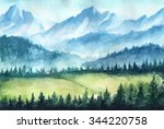 mountains landscape. watercolor ... | Shutterstock . vector #344220758