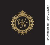 wn initial luxury ornament... | Shutterstock .eps vector #344223254