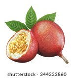 juicy fresh of passion fruit on ... | Shutterstock . vector #344223860