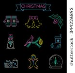 christmas colorful icons    new ... | Shutterstock .eps vector #344226893