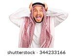 studio shot of an outraged... | Shutterstock . vector #344233166