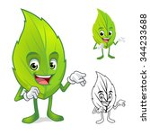 leaf mascot with present hand...   Shutterstock .eps vector #344233688