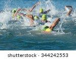 group people in wetsuit... | Shutterstock . vector #344242553
