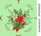 seamless pattern with christmas ... | Shutterstock .eps vector #344246633