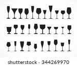 wine glass silhouettes  vector | Shutterstock .eps vector #344269970