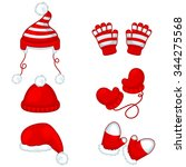 winter hats and gloves set | Shutterstock .eps vector #344275568