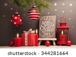 christmas background with gifts ... | Shutterstock . vector #344281664
