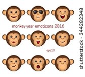 monkey emoticons set. nine ape... | Shutterstock .eps vector #344282348