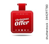 christmas offer red vector icon ... | Shutterstock .eps vector #344297780