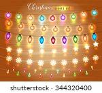 set of glowing christmas lights ... | Shutterstock .eps vector #344320400