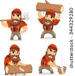 lumberman working in the...   Shutterstock .eps vector #344329280