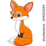 cartoon funny fox sitting... | Shutterstock . vector #344332094