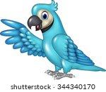 cartoon funny blue macaw... | Shutterstock . vector #344340170