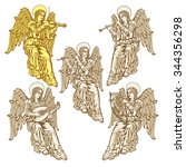 angels with musical instruments ... | Shutterstock .eps vector #344356298