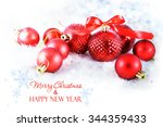 christmas background with red...   Shutterstock . vector #344359433