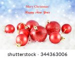 christmas background with red...   Shutterstock . vector #344363006