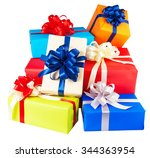 piles of gift boxes wrapped in... | Shutterstock . vector #344363954