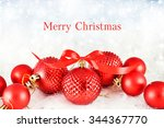 christmas background with red...   Shutterstock . vector #344367770