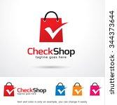 check shop logo template design ... | Shutterstock .eps vector #344373644