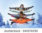 group of happy friends having... | Shutterstock . vector #344376530